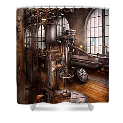 Machinist - Industrial Drill Press  Shower Curtain by Mike Savad