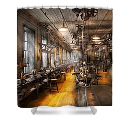 Machinist - Santa's Old Workshop Shower Curtain by Mike Savad