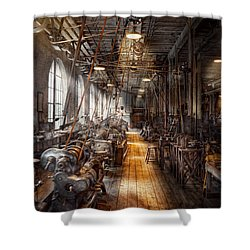 Machinist - Welcome To The Workshop Shower Curtain by Mike Savad