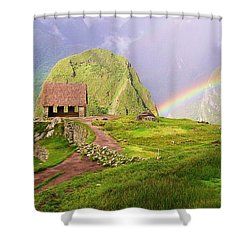 Machu Picchu Rainbow Shower Curtain by Michele Penner