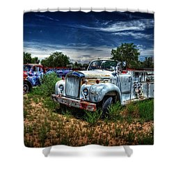 Shower Curtain featuring the photograph Mack Fire Truck And Graffiti Fire Truck by Ken Smith