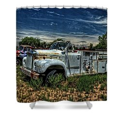 Shower Curtain featuring the photograph Mack Fire Truck by Ken Smith