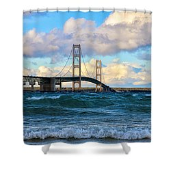 Mackinac Among The Waves Shower Curtain