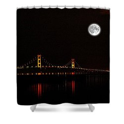 Mackinac Bridge And Moon Shower Curtain by Randy Pollard