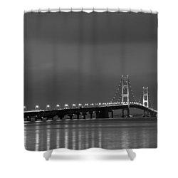 Mackinac Bridge Black And White Shower Curtain by Sebastian Musial