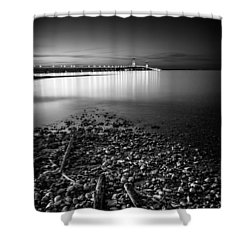 Shower Curtain featuring the photograph Mackinac Bridge Bw by Larry Carr