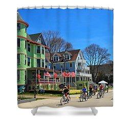 Mackinac Island Waterfront Street Shower Curtain by Terri Gostola