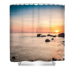 Shower Curtain featuring the photograph Mackinac Sunrise by Larry Carr