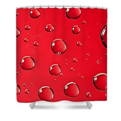 Macro Water Drop On Red Shower Curtain by Sharon Dominick