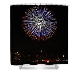 Fireworks Over The Empire State Building Shower Curtain by Nishanth Gopinathan