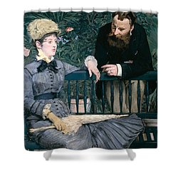 Madame Manet In Greenhouse Shower Curtain by Edouard Manet
