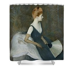 Madame Marthe Letellier Sitting On A Sofa Shower Curtain by Paul Cesar Helleu