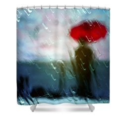 Madame With Umbrella Shower Curtain