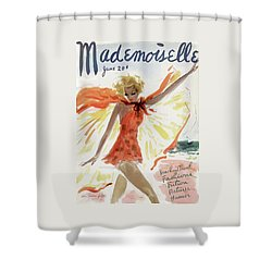 Mademoiselle Cover Featuring A Model At The Beach Shower Curtain