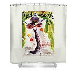 Mademoiselle Cover Featuring A Model Wearing Shower Curtain