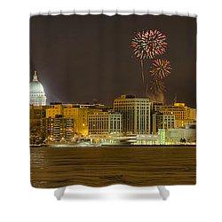 Madison Skyline New Years Eve Shower Curtain