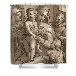 Madonna And Child Shower Curtain by Aged Pixel