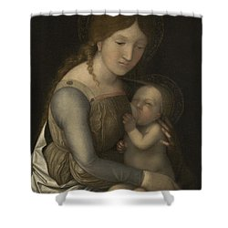 Madonna And Child Shower Curtain by Andrea Mantegna