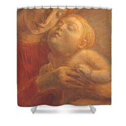 Madonna And Child Shower Curtain by Gaetano Previati