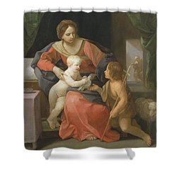 Madonna And Child With Saint John The Baptist Shower Curtain by Guido Reni