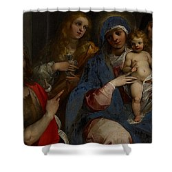 Madonna And Child With Saints John The Baptist With Mary Magdalene And Anne Shower Curtain by Guiseppe Cesari