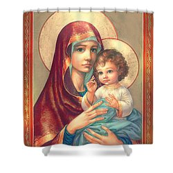 Madonna And Sitting Baby Jesus Shower Curtain by Zorina Baldescu