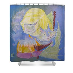 Shower Curtain featuring the painting Madonna With A Cat by Marina Gnetetsky