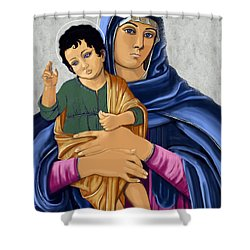 Madonna With Child Blessing Shower Curtain by Karon Melillo DeVega