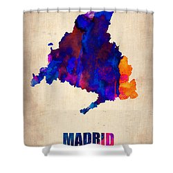 Madrid Watercolor Map Shower Curtain by Naxart Studio