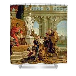 Maecenas Presenting The Liberal Arts To The Emperor Augustus Shower Curtain by Giovanni Battista Tiepolo