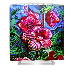 Magenta Fleur Symphonic Zoo I Shower Curtain by Genevieve Esson