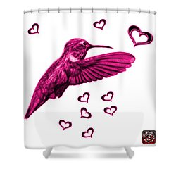 Shower Curtain featuring the digital art Magenta Hummingbird - 2055 F S M by James Ahn
