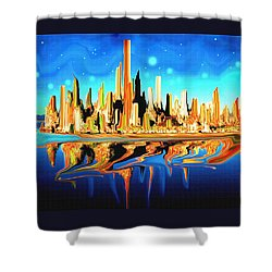New York Skyline In Blue Orange - Abstract Art Shower Curtain by Art America Gallery Peter Potter