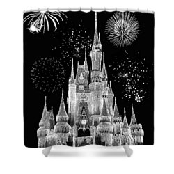 Magic Kingdom Castle In Black And White With Fireworks Walt Disney World Shower Curtain