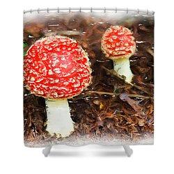 Magic Mushrooms Shower Curtain by Ayse and Deniz
