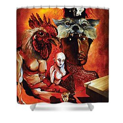 Shower Curtain featuring the painting Magic Poultry by Otto Rapp