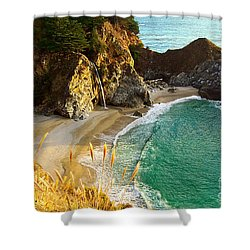 Magical Falls Of Mcway Waterfall At Julia Pfeiffer Burns State Park Shower Curtain by Jamie Pham