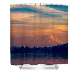 Magical Sunset At The Lake Shower Curtain by Ken Stanback