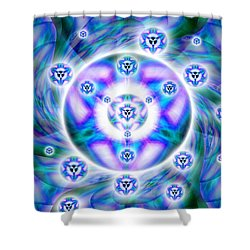 Shower Curtain featuring the drawing Magnetic Fluid Harmony by Derek Gedney