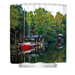 Magnolia Red Boat Shower Curtain