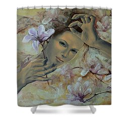 Magnolias Shower Curtain by Dorina  Costras