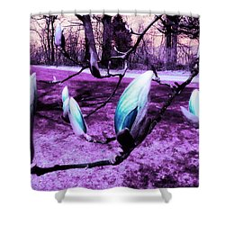 Magnolias In An Alien World Shower Curtain by Shawna Rowe