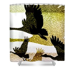 Magpie Geese In Flight Shower Curtain by Holly Kempe