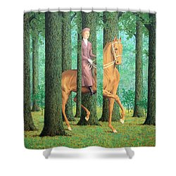 Magritte's The Blank Signature Shower Curtain by Cora Wandel