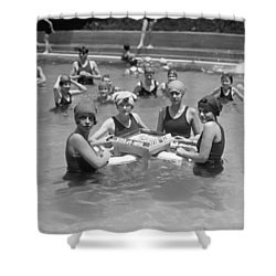 Mah-jong In The Pool Shower Curtain by Underwood Archives