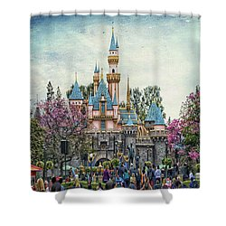 Main Street Sleeping Beauty Castle Disneyland Textured Sky Shower Curtain