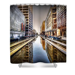 Main Street Square Shower Curtain by David Morefield