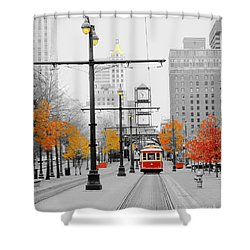 Main Street Trolley  Shower Curtain