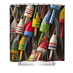 Maine Fishing Buoys Shower Curtain by Randall Nyhof