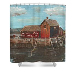 Maine Fishing Shack Shower Curtain